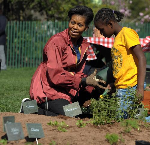 First Lady plants Kitchen Garden at White House in Washington